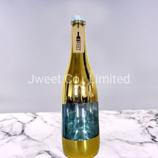 Empty Plating Colors 375ml Gold Beer Brandy Glass Bottle