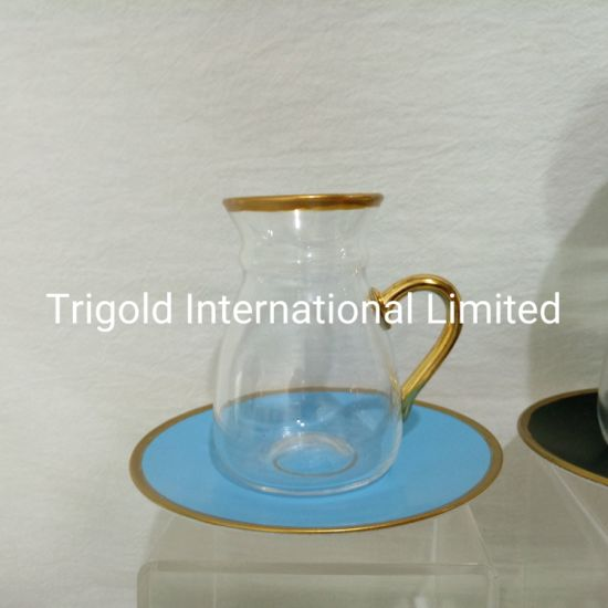 Glasses Tea Cup with Saucers Set