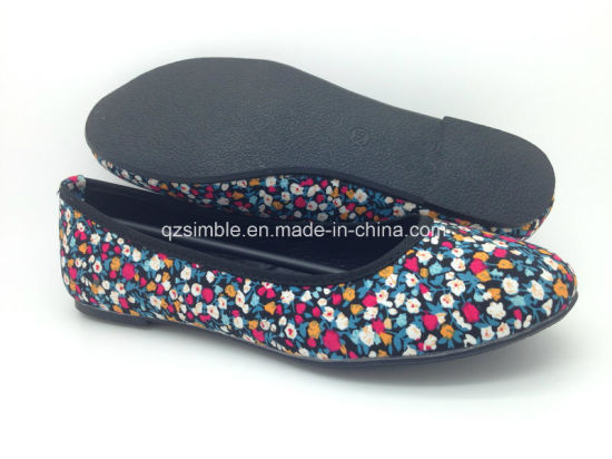 Floral Canvas Flat Ballerinas Ballet Shoes for Lady