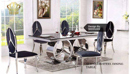 0c3b2f2f32 China High Quality Dining Table Glass Top Modern Dining Table Set ...