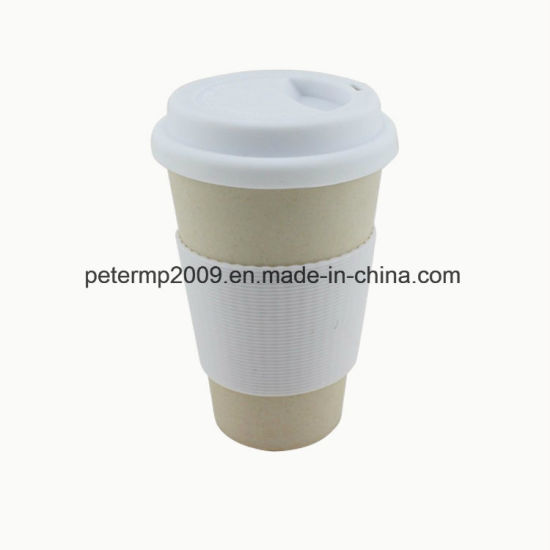 Eco Friendly Durable Used Bamboo Fiber Coffee Mugs with Silicone Lid and Sleeves pictures & photos