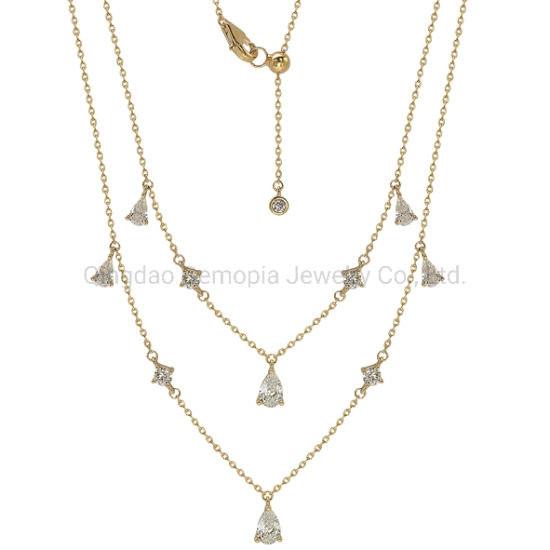 925 Silver Brass 10K 14K 18K Gold Double Chain Necklace with Pear Shape Stone Fashion Jewelry
