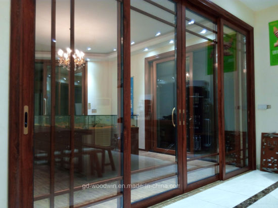 Foshan Woodwin Wood Grain Aluminum Sliding Door with Double Tempered Glass pictures & photos