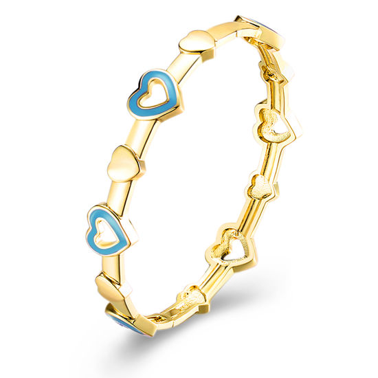 Heart Inset Imitation Gold Plated Bangle Jewelry Blue Heart Bangle pictures & photos