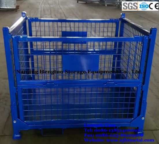 Steel Collapsible Wire Mesh Cage / Storage Container For Pallet Rack