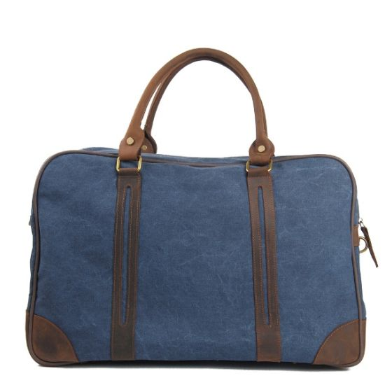 Cowhide Leather Hand Strap Bag Washed Canvas Sport Duffle Travel Bag (RS-6827A) pictures & photos