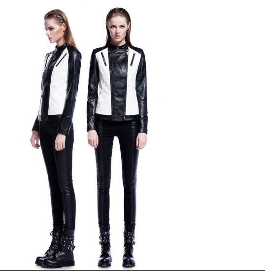 Black/White Women's PU Leather Jacket