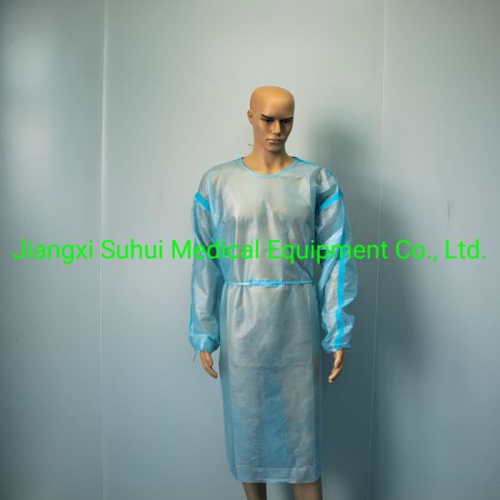 Isolation Gown Level 1 Level 2 Medical Gown Coveralls Disposable Coverall Disposable Gown Blue PP+PE 45g
