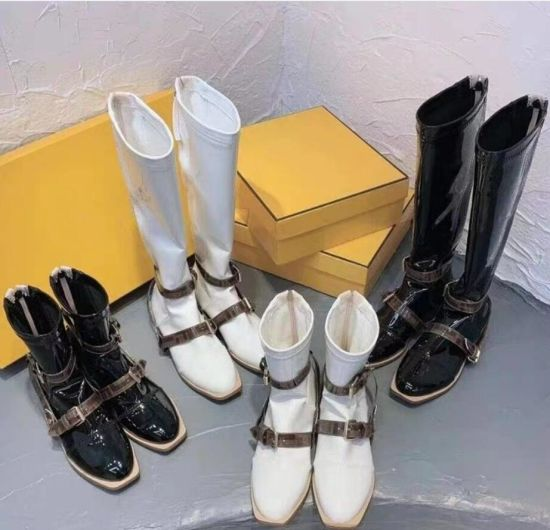 Beige Color F Home Patent Leather Women′ S Square Toe Back Zipper Knight High Boots