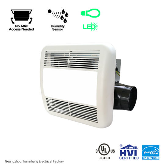 Ceiling Mount Humidity Sensing Bathroom Exhaust Fan With Led Light 80 Cfm China Humidity Sensing Fan And Led Fan Price Made In China Com