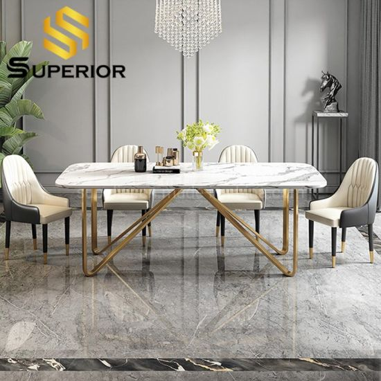 China Nordic Glam White Marble Stone Dinner Table With 8 Chairs China Modern Table Dining Table