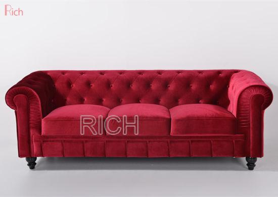 Home Living Room Modern Red Velvet Chesterfield Sofas Hotel ...