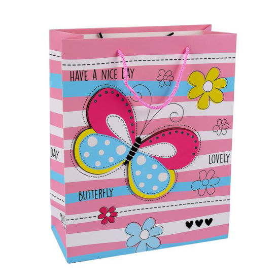 Pink Printed Custom 3D Wholesales Paper Gift Bag