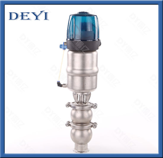 AISI304 Food Grade Stainless Steel Hygienic Double Seat Valve with Control Box
