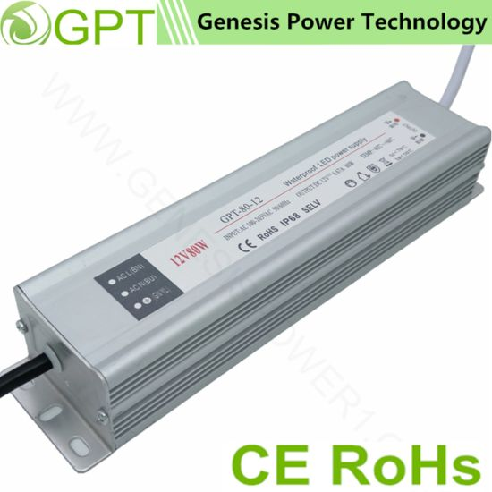 80W 12V 24V Switching Waterproof AC DC LED Transformer, Single Output Switch Mode Power Supply Driver LED Strip (Outdoor IP68 SMPS factory) pictures & photos