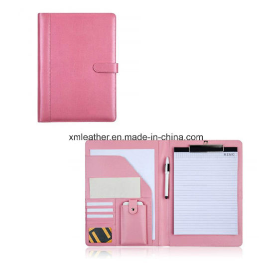 Personal Zipper PU Leather Conference Folder pictures & photos