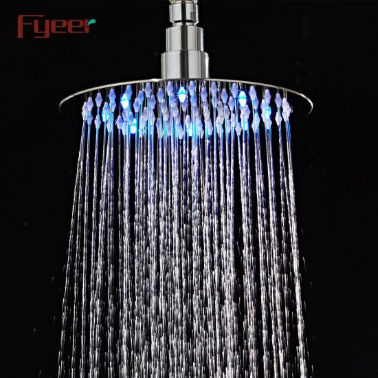 Fyeer 8 Inch Diameter Round Stainless Steel Shower Head with LED Light