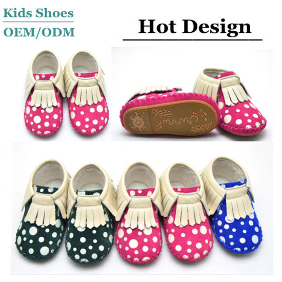 Guangzhou Cute Handmade Baby Girls Shoes Leather Fringe Baby Shoes