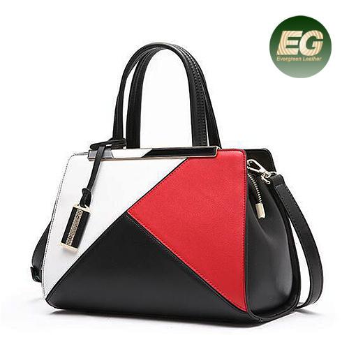 New Women Leather Color Collision Ladies Handbags Tote Bag Emg5348