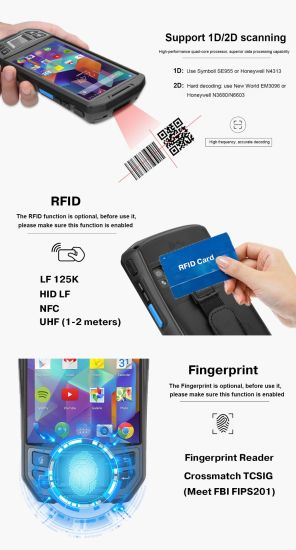 China Qr Code Scanner 4G Android Handheld PDA Device with