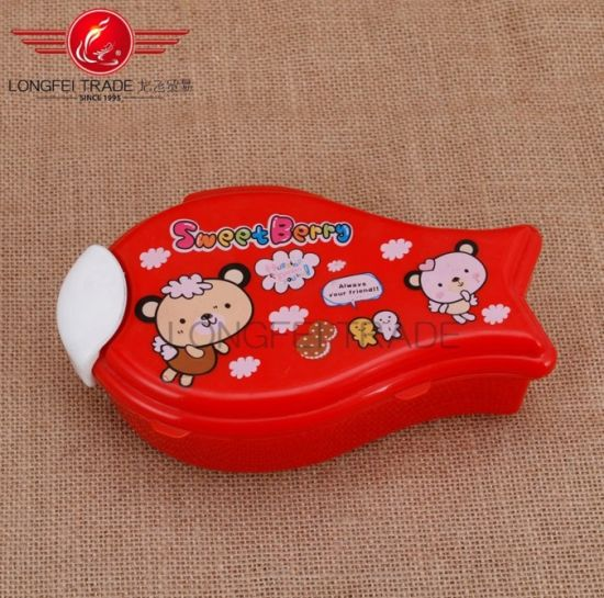 Fish Shape Plastic 3 Compartments Double Layer Children Food Container/Lunch Box pictures & photos