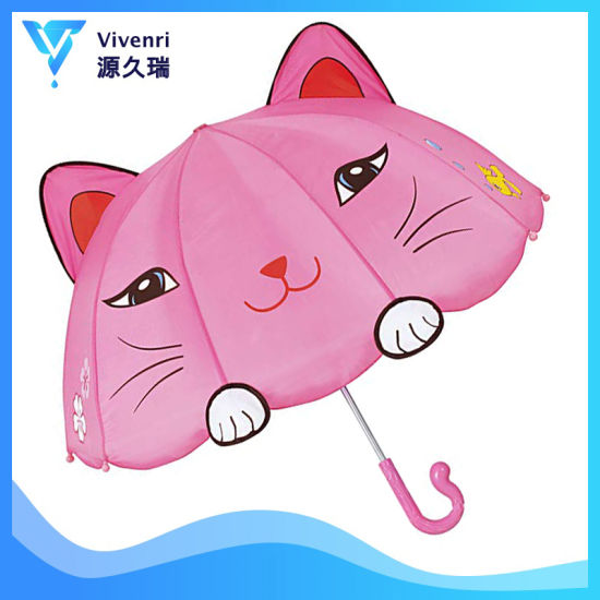 Pink Lucky Cat Umbrella for Girls, 3D Cartoon Animal Kid Umbrella, Child Umbrella