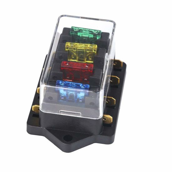 Car 4 Way Circuit Standard ATO Blade Fuse Box Block Holder 12V//24V+4 Way Fuse ^F