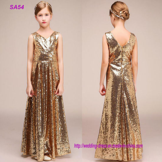 Kid Lovely Flower Girl Dresses Gold Sequins Ball Gown for Wedding pictures & photos