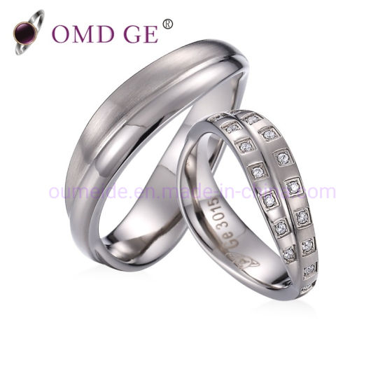 Omd CZ Diamond Inlay Wave Promise Ring Copper Brass Couple Ring Sets Gold Silver Plated