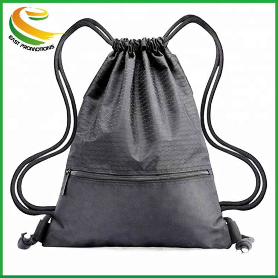Waterproof Black Sport Foldable Nylon Drawstring Bag Backpack