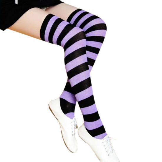 HOT Striped THIGH HIGH SOCKS Over Knee Girls Womens Halloween Cosplay Stockings