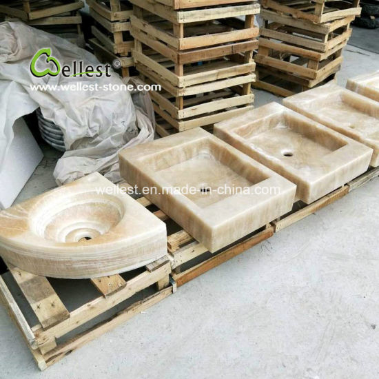 Customized Hand Made Yellow Onyx Craved Stone Sinks pictures & photos