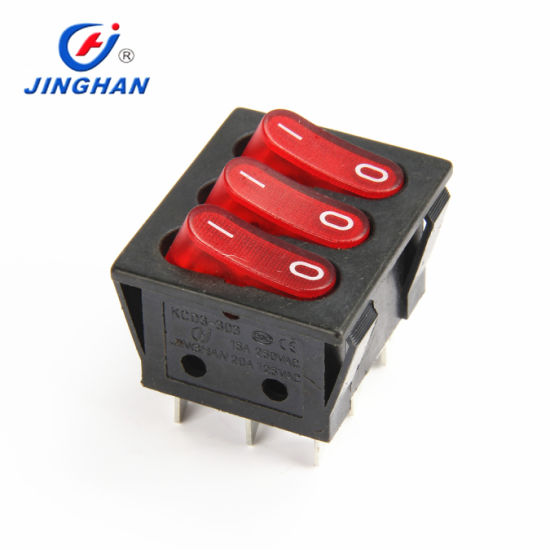 3 Pins on-off T105 55 Rocker Switch Dpdt with 12V Red Light Button