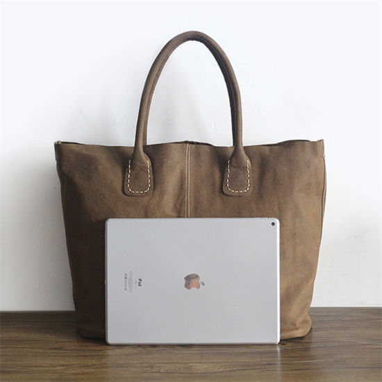 Leather Handbag Factory Wholesale Simple Susen Cowhide Leather Shopping Bags Oversize Tote Bag for Women with Pouch Emg6090