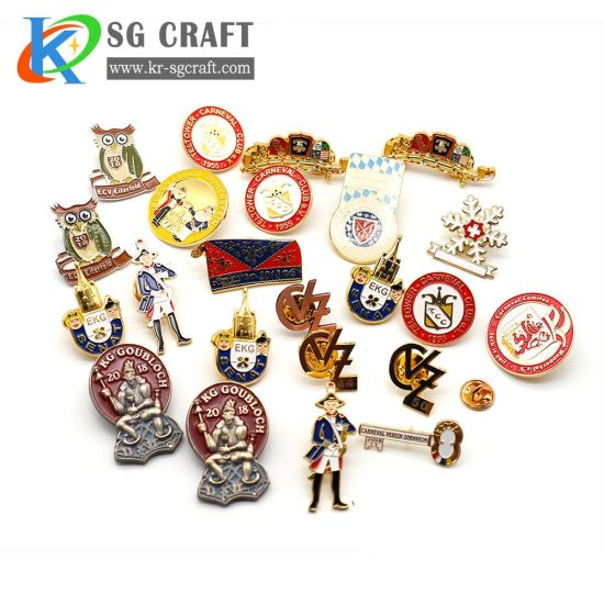 Wholesale Custom Lapel Pins Hot Sales Gold Plating Hard/Soft Enamel Metal Pin Badge with Gold Glitter for Anniversary/Event/Souvenir