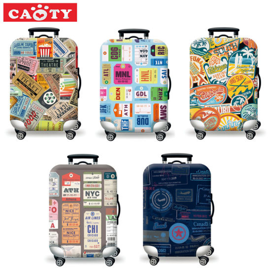 Travel Luggage Cover Cartoon Sea Suitcase Protector Baggage Case Dustproof Stretchy Fits 26-28 Inch