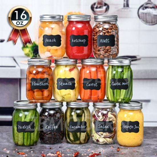 12 Pack 16 Oz Regular Mouth Glass Mason Jars Glass Canning Jars with Metal Airtight Lids and Bands Food Storage Canning Jars