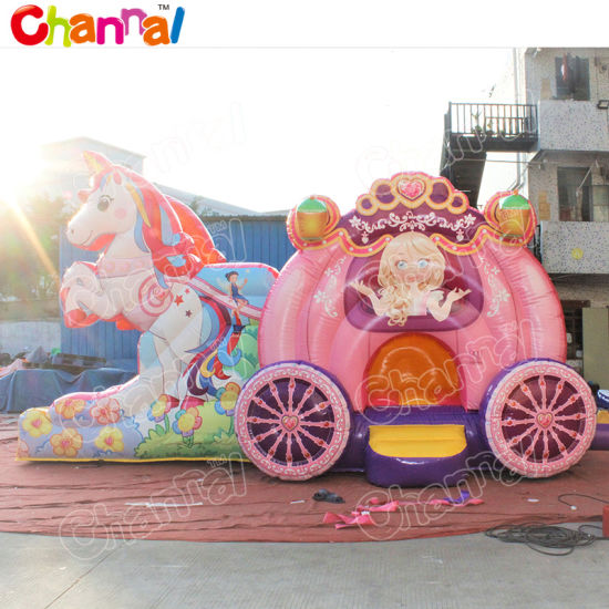 Unicorn Princess Carriage Inflatable Bouncer Jumping Castle Combo Chb900 pictures & photos