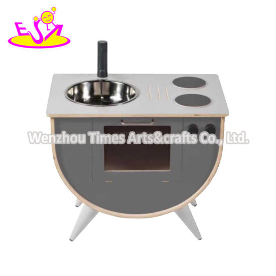 2020 Most Popular Gray Wooden Play Kitchen for Girls W10c506