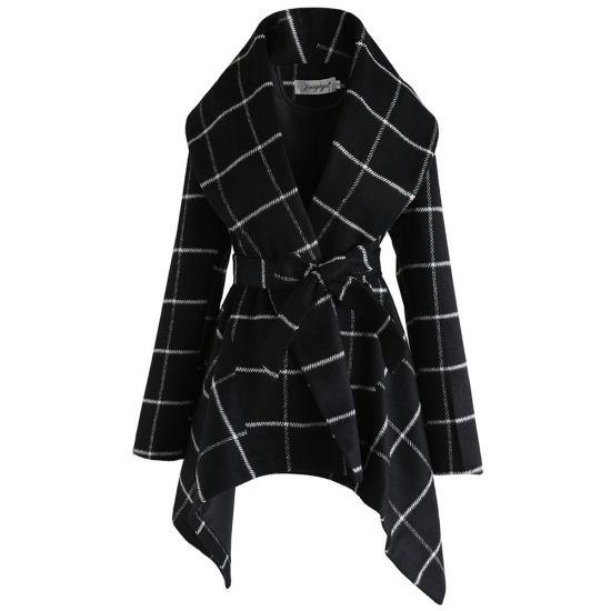 New Style Wholesale Winter Long Women Slim Fit Plaid Coat