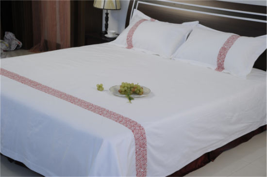 Wholesale High Quality 100% Cotton 60s Plain Dyed Exquisite jacquard Hotel Bed Sheet