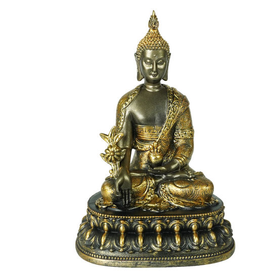 New Arrive Golden Color Home Indoor Decor Tabletop Small Fengshui Resin Meditating Zen Buddha Statue on Throne
