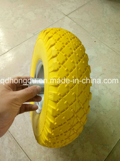 Powder Coated Steel Rim Solid Rubber PU Foam Wheel pictures & photos