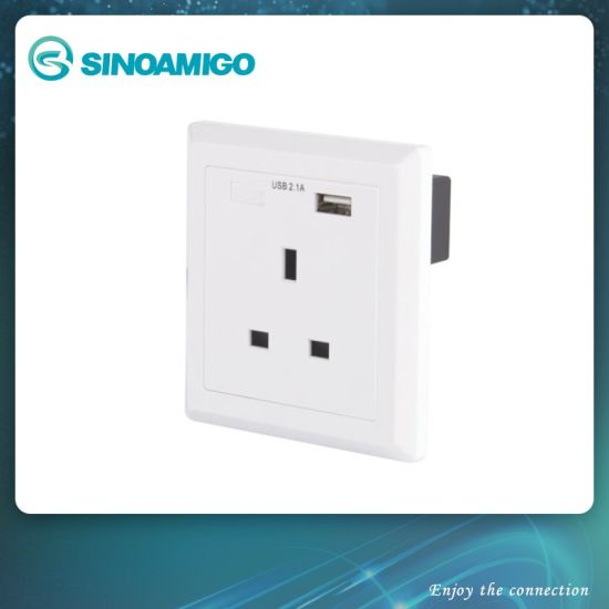 Usb Charger Wall Outlet With 13a 240v Bs Socket And 1 2 1a Usb Port China Usb Charger Usb Wall Charger Made In China Com