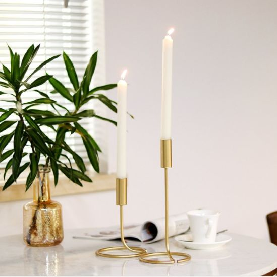 Golden One Head Iron Candle Holder for Table Setting Wedding Decoration