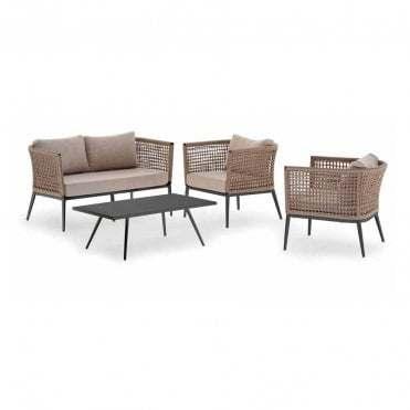 Aluminum Frame Woven Rope Sofa Set Garden Patio Sofa Set Outdoor Furniture