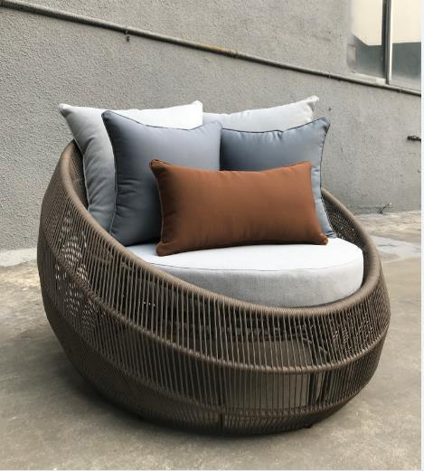 Factory Made Hotel Aluminum Rattan Rope Weaving Patio Home Outdoor Sunbed