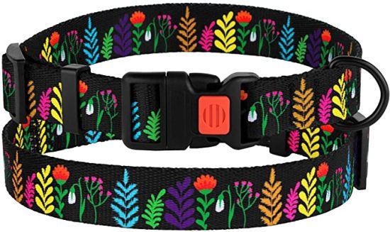 Floral Dog Collar Nylon Pattern Flower Print Adjustable Pet Collars