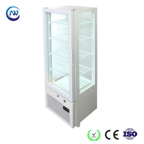 Commerical Upright Glass Door Energy Drink 4 Side Glass Display Refrigerator Yy-98f