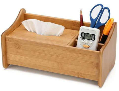Desktop Organizer Natural Bamboo Storage Box with Retractable Book Organizer Display Shelf Rack